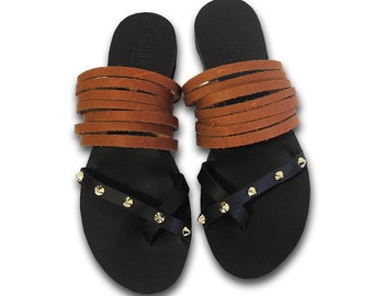 Black - brown leather sandals