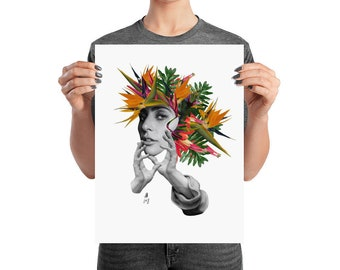 Lady Gaga, mother nature poster art, graphic print, collage, matte, premium quality paper, various sizes and shapes.