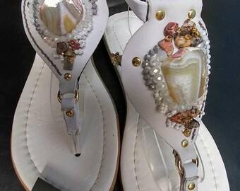 Bridesmaid Sandals, Bride Sandals, White Sandals, Beach Wedding Shoes, Bridal Sandals, Summer Wedding, Summer Sandals, Womens Sandals