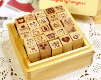 Love Diary Stamp Set - Wooden Rubber Stamp Set - Diary Stamps - 25 pcs