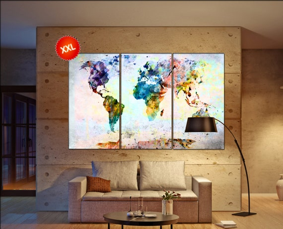 world map art print  print on canvas wall art Large world map art print art artwork large world map  Print home office decoration