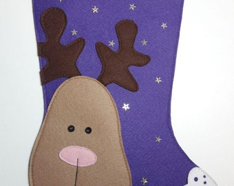 Christmas stocking made of felt with hand embroidery/Gift packaging