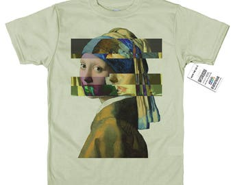Girl with a Pearl Earring T shirt, Johannes Vermeer, Glitch Design