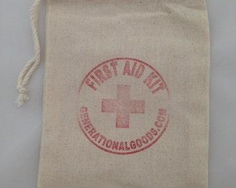 Add Gift Wrap 100% Cotton First Aid Kit Drawstring Gift Bag