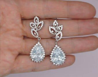 Vintage Wedding Earrings Crystal Bridal Earrings Crystal Drop Earrings Brautschmuck Rhinestone Earrings for Brides