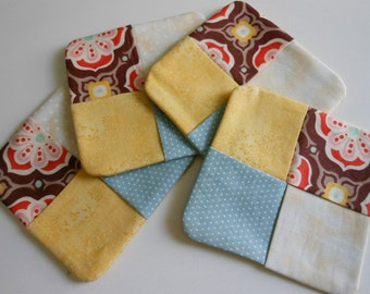 Quilted Fabric Coasters Set of 4--Retro