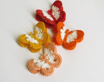 "Butterfly Appliques, 2"" wide, colorful mix - red, orange, peach, yellow"