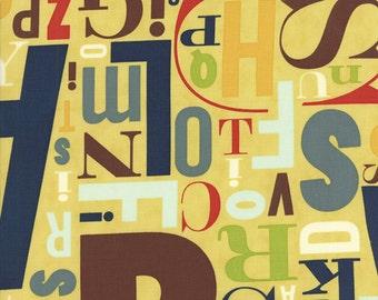 Alphabet Fabric -  Social Club  Metro Typeface Alphabet Letters by the Comstocks for Moda Fabrics  Jazz Yellow 37094 16 - 1/2 Yard