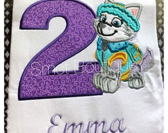 Personalized Everest Pup Girls Applique Embroidery Shirt