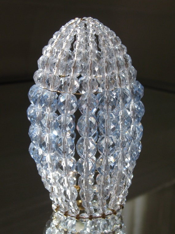 Small Faceted Ice Blue Beaded Light Bulb Cover Chandelier