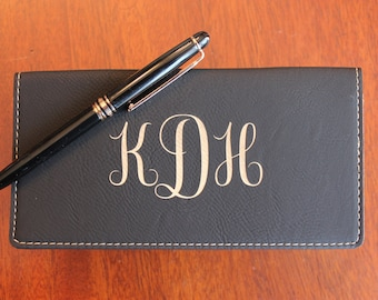 Black Leather Check Book Cover, Personalized Check Book Cover, Engraved Check Book Cover With Monogram Design, Monogram Checkbook Cover