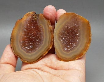 Pair of Rough(Unpolished)Agate/Achat Nodule Specimen /Chinese Fighting Blood Agate/Jewelry Making/Collecting  Xuanhua Hebei China XH-177