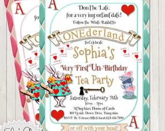ONEDERLAND TEA PARTY Un-Birthday Invitation, 1st Birthday Tea Party, Un-Birthday Wonderland, Onederland Photo Invite, Alice in Wonderland