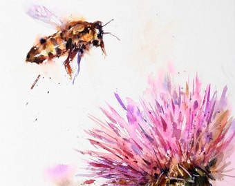 BEE and CLOVER  Watercolor Print, Bee Art by Dean Crouser