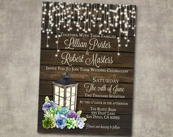 Wedding Invitation Succulents Lantern Rustic Wood Country Barn String Fairy Lights Cream Green Digital or Printed I customize for you