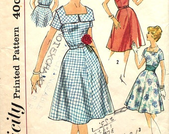 Square Neck Dress Bust 34 Simplicity 3044 Vintage Sewing Pattern Size 14