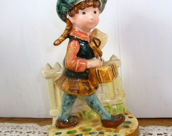 Vintage Girl Figurine With Gift Box, Presents, Cobblestone, Fence, American Greetings, No 2  (80-15)