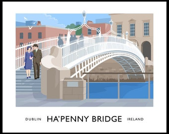 Ha'penny Bridge, Dublin - vintage style railway travel poster art of Ireland