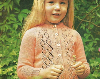 knitting pattern, girl's pretty lace cardigan, sizes 24 to 30 in, pdf, digital download, instant download