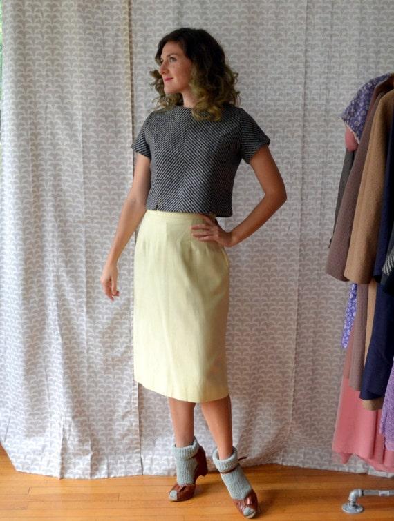 Lemon Crisp Skirt | Pastel Yellow 60's Pencil Skirt