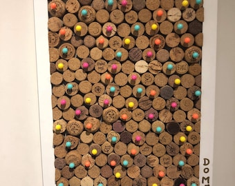Recycled wine corks, cork board