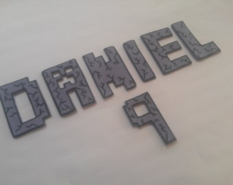 MINECRAFT Letters Font fondant cake topper decorations