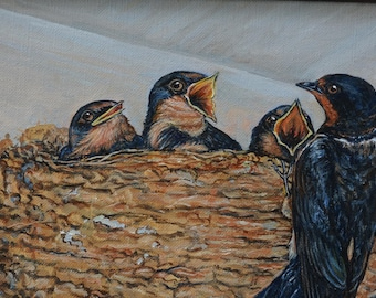 Barn Swallow Family Oil Painting