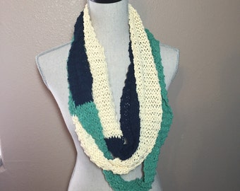 TriColor Infinity Scarf, Hand Knit in Cotton Yarn