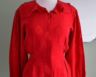 RED silk satin brocade vintage blouse PAISLEY ruffle collar 1980's does 1930's 1940's uk 12/14 us 8/10