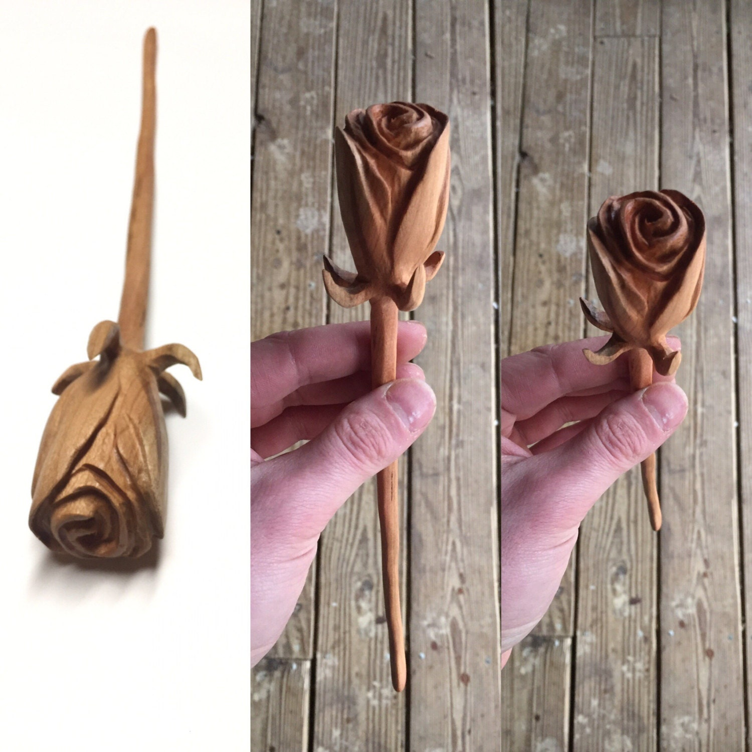 Rose wood carving valentine s day gift for her mother
