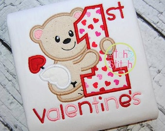 First Valentine's Day Bear - Embroidered and Personalized Shirt