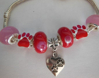 """Red & Pink Love My Pet Bracelet with 8"""" silver plated European Bracelet"""