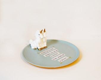 large trinket dish, bits and bobs dish, unicorn plate, decorative plate