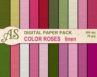 Digital Color Roses Linen Paper Pack, 20 printable Digital Scrapbooking papers, floral Fabric Digital Collage, Instant Download, set 296