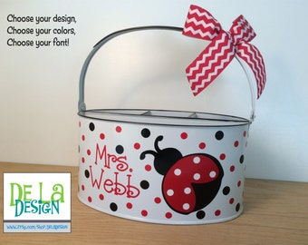 Personalized Desk organizer or Utensil holder, oval metal bucket, caddy, Ladybug or other design, teacher gift, baby gift