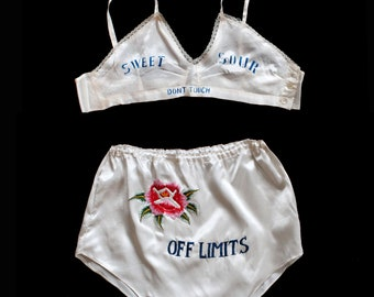 """RESERVED--Rare! 1940s WWII Lingerie Set / 40s Novelty Bra Panties / Embroidered  """"Off Limits"""" """"Sweet Sour Don't Touch"""""""