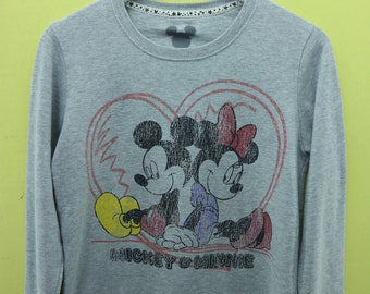 Vintage Mickey Loves Minnie Mouse By Disney Big Logo Sweatshirt Cartoon Sweater Size L