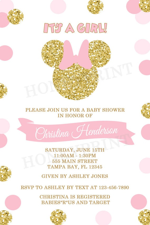 Pink and Gold Minnie Mouse Baby Shower Invitation Gold Minnie