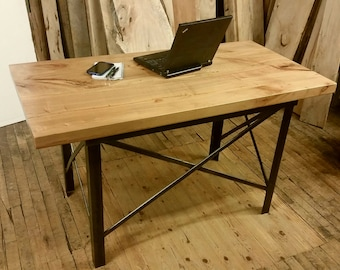 Industrial Desk Vintage Metal with Maple Top Dramatic Grain Natural Solid Wood