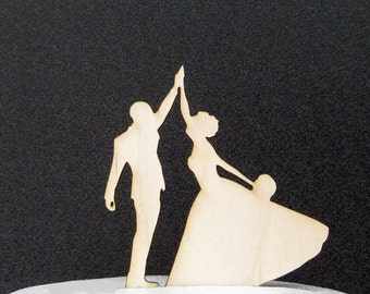 Rustic Wood Wedding Cake Topper - High Five, Bride and Groom Silhouette