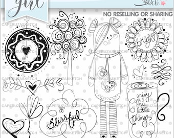 Spring Stamp, Spring Digistamp, Digital Stamp, Digital Image, COMMERCIAL USE, Enjoy the Little Things, Coloring Page, Party Stamp, Blissful