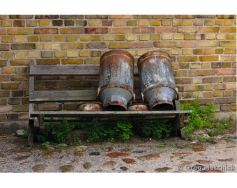 Fine Art Color Photography of Bench with Old Milk Cans on a Farm in Sweden