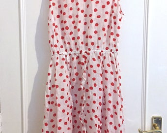 White and Red Polka Dot Print Cotton Dress with ruffle detail
