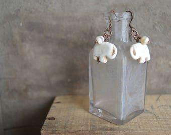 Cream Stone Elephant Earrings