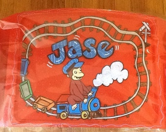 Curious george lap tray, curious george tv tray, curious george game tray, train lap tray, kids lap tray, kids game tray, kids tv tray,
