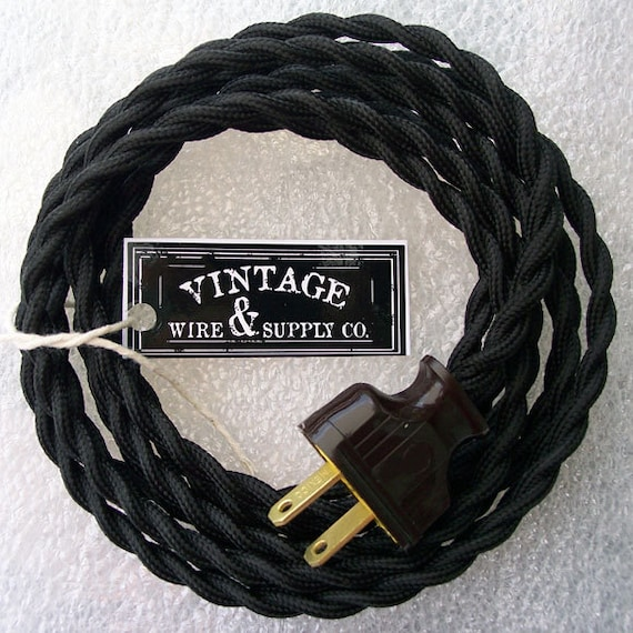 black cloth covered wire 8 ft cordset vintage style lamp rh etsy com antique lamp cord replacement vintage lamp wiring