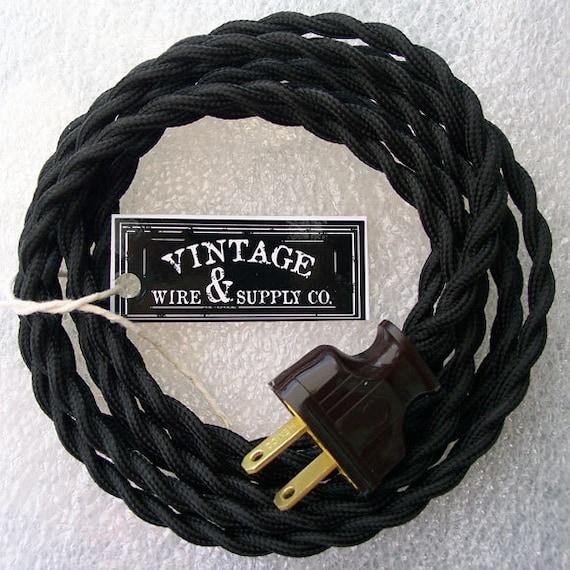 black cloth covered wire 8 ft cordset vintage style lamp rh etsy com vintage lamp wiring kit antique lamp cord set