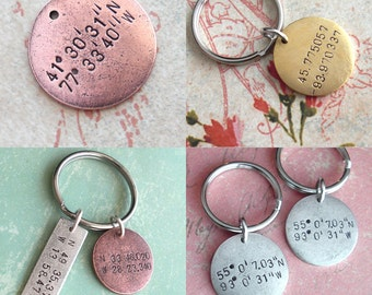 GPS Coordinates Keychain.. Hand Stamped Tag .. customize Lat/Long antiqued metal charm .. Round pendant in Copper, Silver or Gold .. Gift