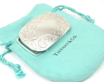 """Rare Vintage Tiffany & Co 925 Sterling Silver Hand-Chased Buckle for 1"""" Belt"""