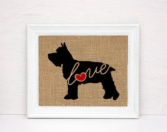 Miniature Mini Schnauzer Love - Burlap Wall Art Gift for Dog Lovers - Personalize Silhouette w/ Name - More Breeds (101s)
